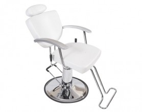 United Kingdom White Leather Unique Reclining Barber Shop Hydraulic Chair