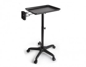 Adjustable Hair Color Mobile Salon Service Tray Barber Trolley with Appliance Holders