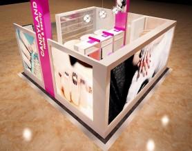China nail bar manicure art kiosk 3D plan design nail mall salon station display