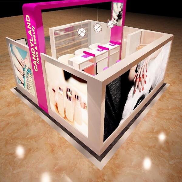China nail bar manicure art kiosk 3D plan design nail mall