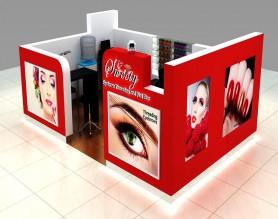 Customized Design Mall Salon Nail Art Bar Kiosk Make Up station display table