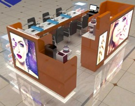 Manufacture design mall nail art bar kiosk for manicure station display