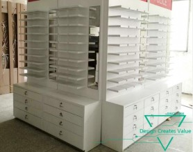 Factory Shop Decoration Wall Mounted Eyewear Display Wood Showcase Modern Glass Optical Display Cabinets
