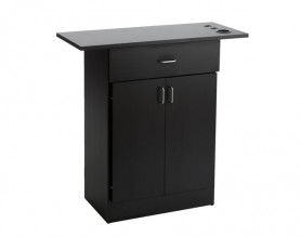 Black barber styling station beauty counter storage cabinet