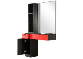 Wooden hair salon styling cabinet barber single mirror station