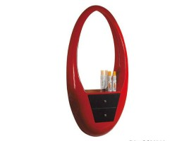 Barber shop red makeup mirror salon styling station