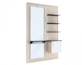 Wood Mirrored Salon Styling Station with Storage Cabinet