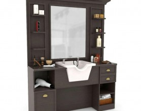 Wood Salon Storage Cabinet Styling Workstation Hairdressing Tower Shelf