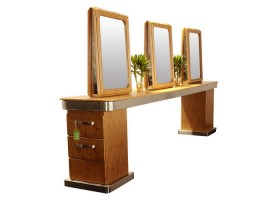 wooden barber hairdressing furniture salon styling mirror stations