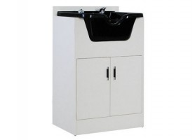 Barber shop salon storage cabinet with shampoo bowl