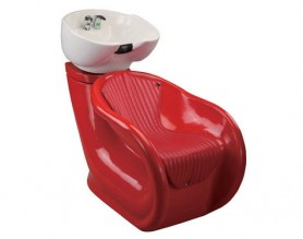 Beauty women red shampoo chair hair backwash unit with basin