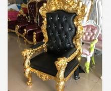 Antique Wood Nail Salon Couch Sofa Waiting Reception Spa Throne King Chair