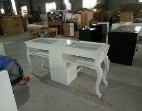 Fashion White Double Nails Polish Salon Bar Furniture Nail Table Manicure Station