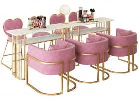 Hot sale nail spa station furnitures modern marble double manicure table sets