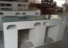 Modern glass white double manicure table nail desk bar station salon furniture