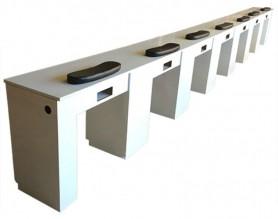 Modern long double nail salon station reception desk manicure bar table