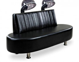 Comfortable beauty barber styling sofa double seats hair dryer chair with steamer
