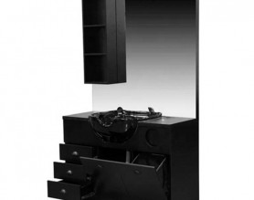 Hair dressing makeup salon styling barber wooden mirror station cabinet backwash bowl