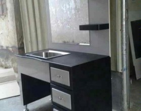 Classic European Salon Furniture Styling Mirror Barber Station With Stainless Sink