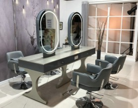 Salon furniture makeup barber hairdressing beauty station with mirror