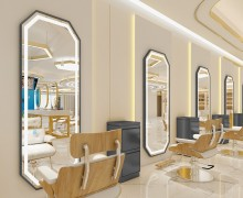 Beauty and hair salon furniture makeup style mirror with led light
