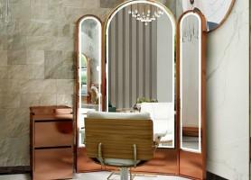Desktop beauty led light illuminated haircut salon styling stations mirror for barber shop
