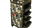 Portable Facial Beauty Nail Cart Pedicure Tools Cabinet Hairdressing Trolley Barber Station