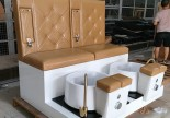 Lovely beauty nail bar furniture double seat pedicure bowl SPA sofa station manicure pedicure bench chair