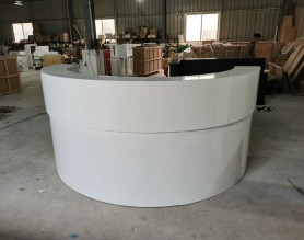 Round spa nail pedicure bar club leather checkout cashier counter LED beauty table station front salon reception desk