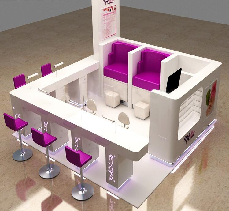 China nail bar manicure art kiosk 3d plan design nail mall salon station display china beauty - Plan 3d salon ...