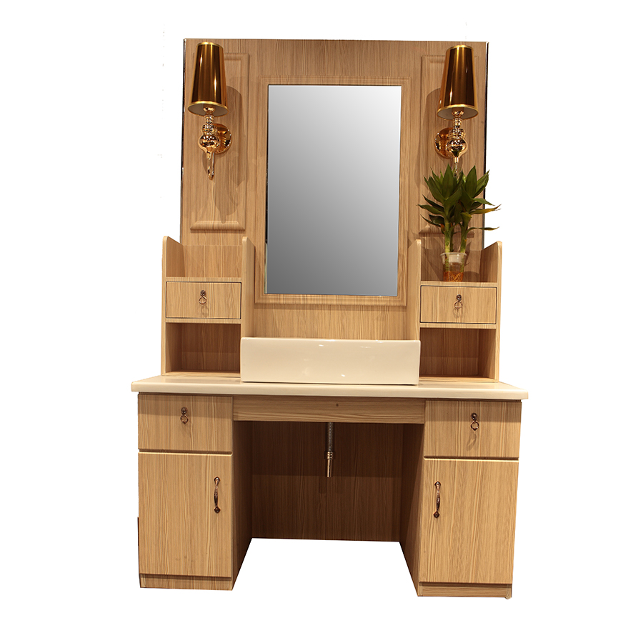 Beauty styling station wooden cabinet salon mirror table wash